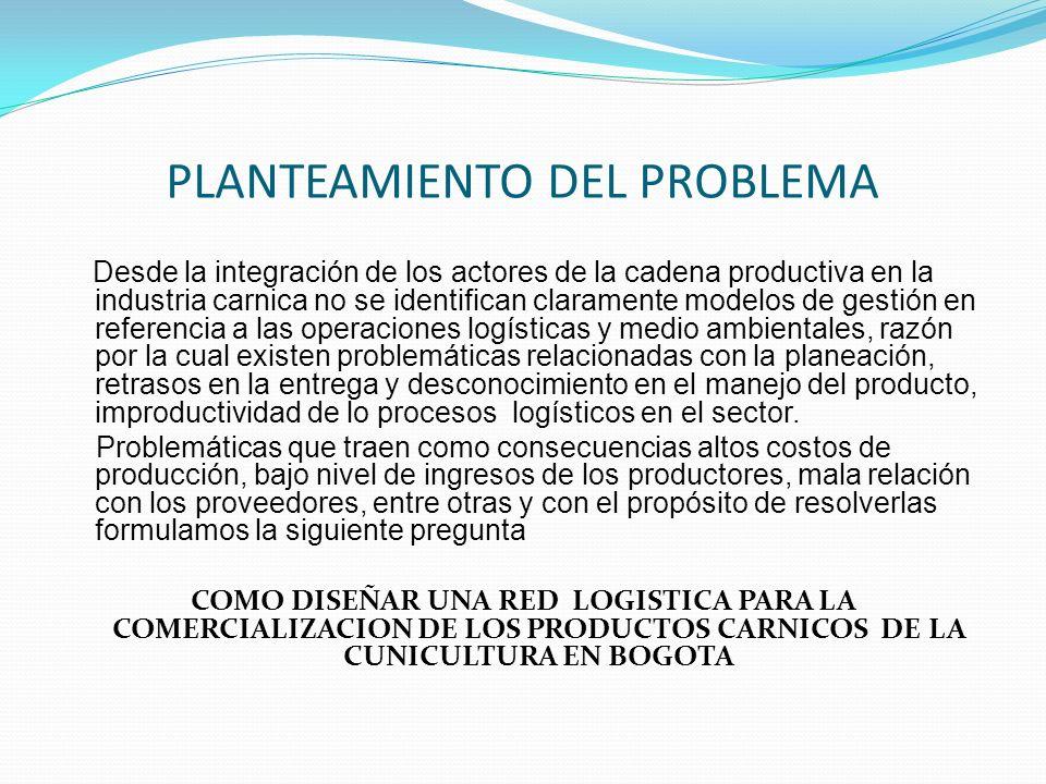 PLANTEAMIENTO DEL PROBLEMA Desde la integración de los actores de la cadena productiva en la industria carnica no se identifican claramente modelos de