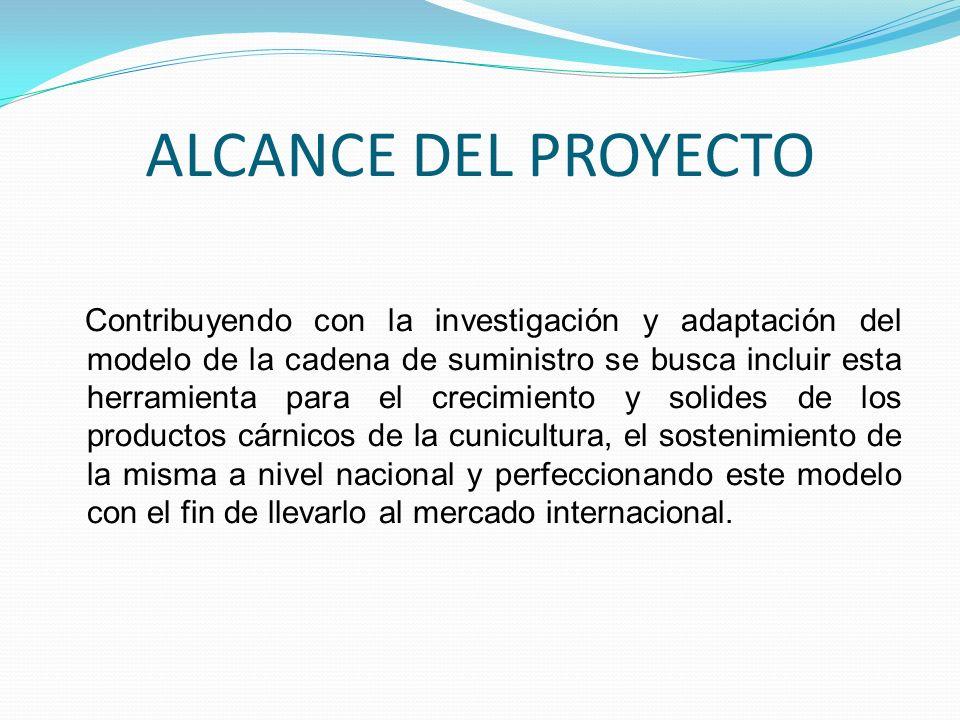 ALCANCE DEL PROYECTO Contribuyendo con la investigación y adaptación del modelo de la cadena de suministro se busca incluir esta herramienta para el c