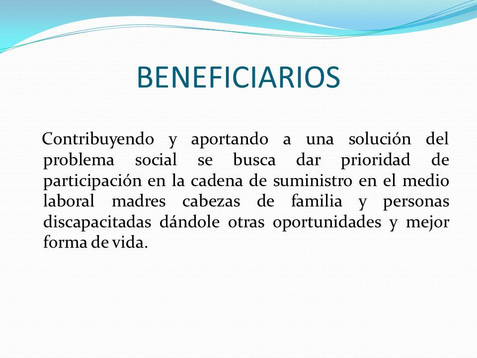 BENEFICIARIOS Contribuyendo y aportando a una solución del problema social se busca dar prioridad de participación en la cadena de suministro en el me