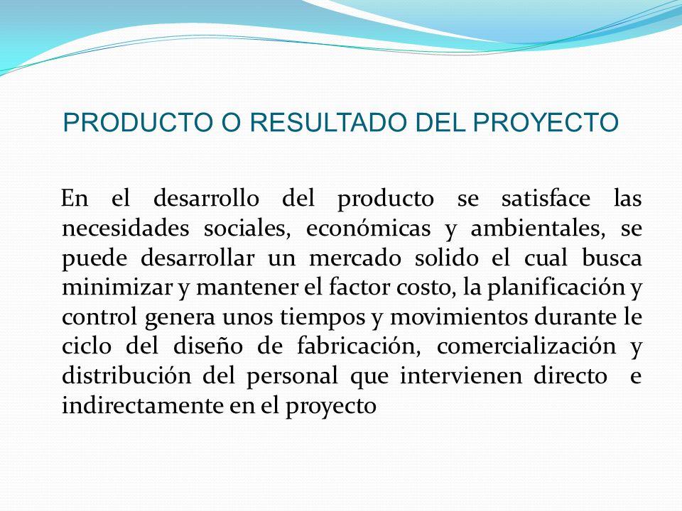 PRODUCTO O RESULTADO DEL PROYECTO En el desarrollo del producto se satisface las necesidades sociales, económicas y ambientales, se puede desarrollar