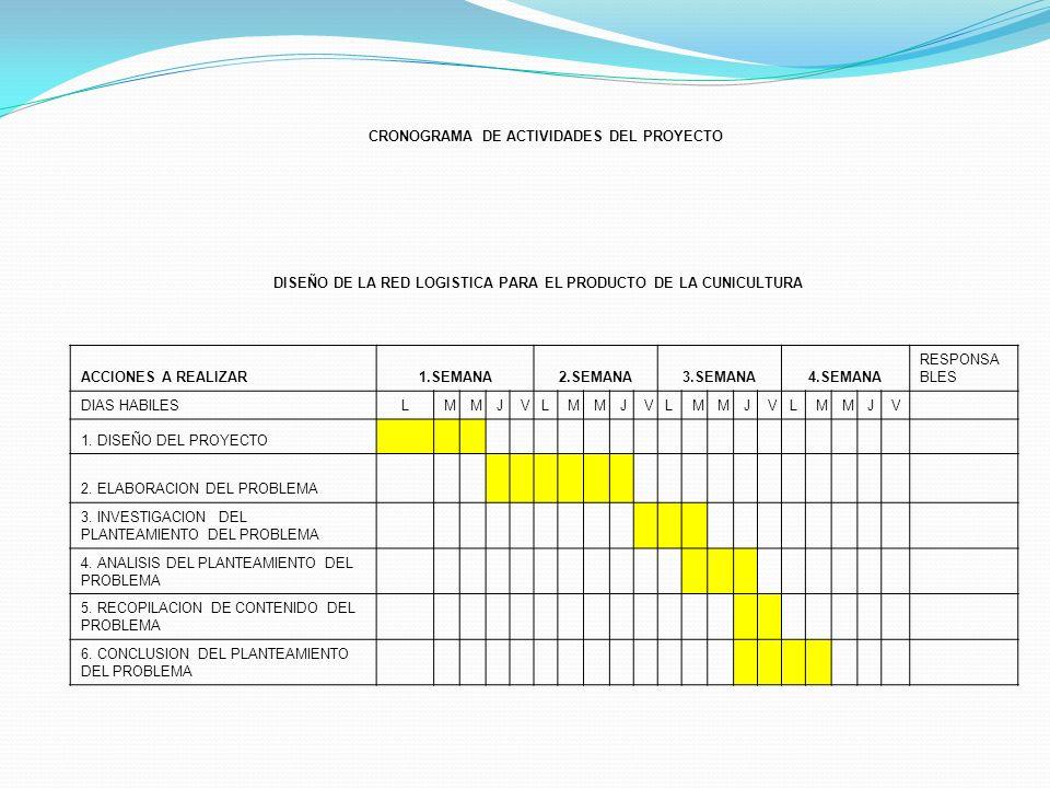 CRONOGRAMA DE ACTIVIDADES DEL PROYECTO DISEÑO DE LA RED LOGISTICA PARA EL PRODUCTO DE LA CUNICULTURA ACCIONES A REALIZAR1.SEMANA2.SEMANA3.SEMANA4.SEMA