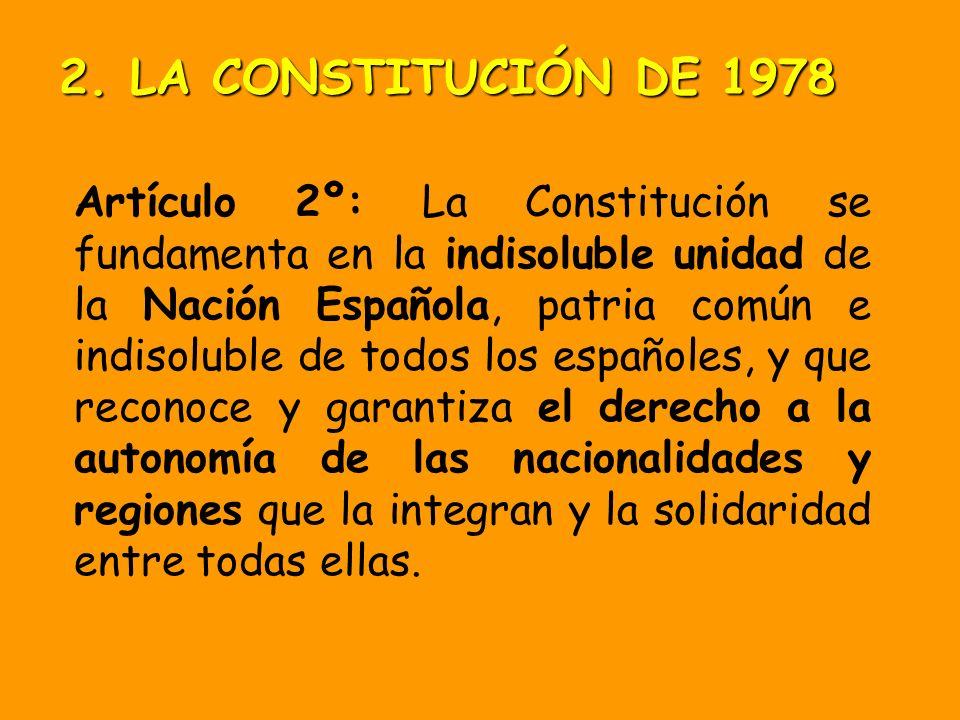 Art 1.3.: La forma política del Estado español es la MONARQUÍA PARLAMENTARIA 2. LA CONSTITUCIÓN DE 1978