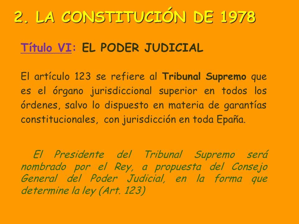 Título VI: EL PODER JUDICIAL El ejercicio de la potestad jurisdiccional corresponde a los: JUZGADOS determinados por las leyes. y TRIBUNALES TRIBUNALE