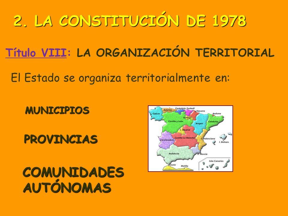 Título VIII: Capítulo primero De la Organización Territorial del Estado Principios generales Capítulo segundo Capítulo tercero De la Administración Lo