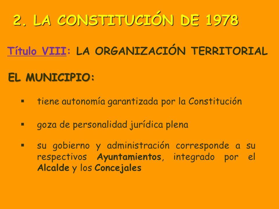 Título VIII: LA ORGANIZACIÓN TERRITORIAL El Estado se organiza territorialmente en: MUNICIPIOS PROVINCIAS COMUNIDADES AUTÓNOMAS 2. LA CONSTITUCIÓN DE