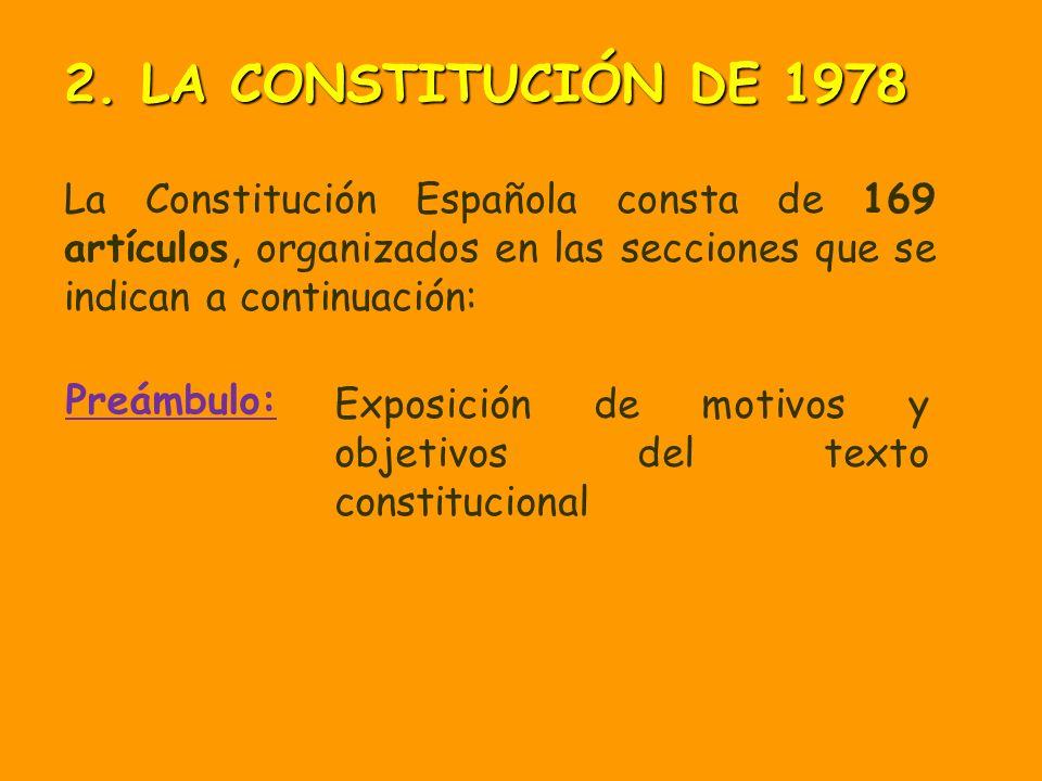 Preámbulo: La Constitución Española consta de 169 artículos, organizados en las secciones que se indican a continuación: Exposición de motivos y objetivos del texto constitucional 2.