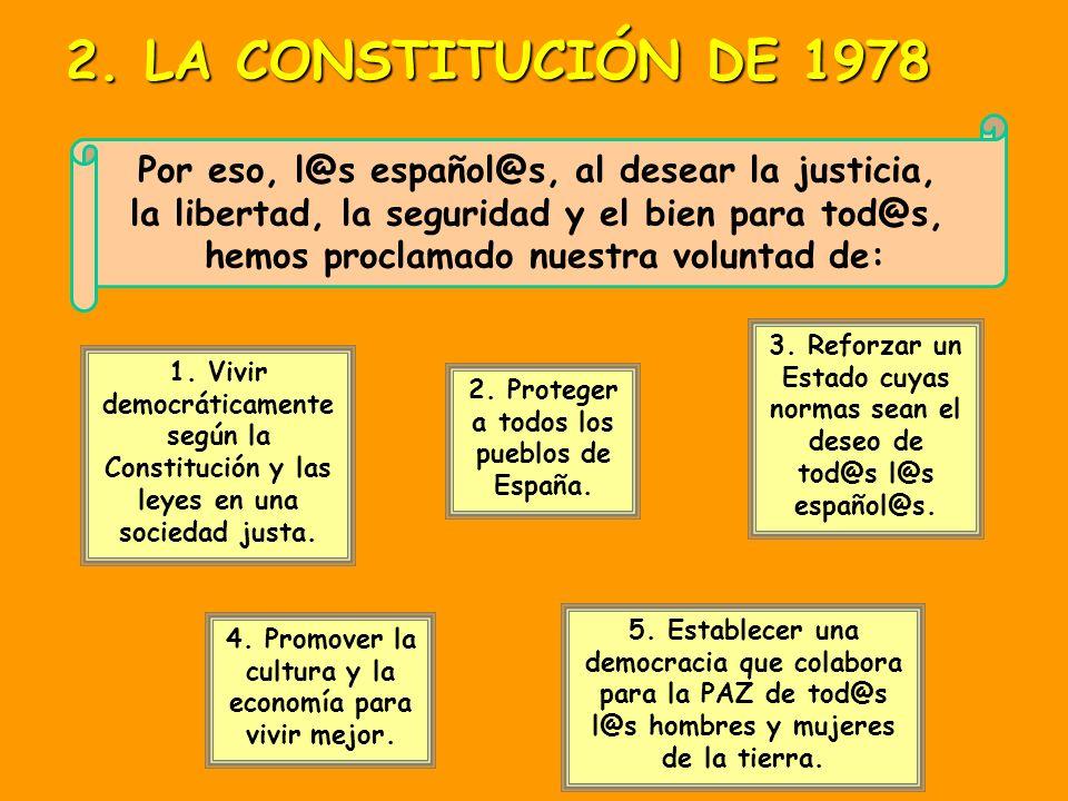 Por eso, l@s español@s, al desear la justicia, la libertad, la seguridad y el bien para tod@s, hemos proclamado nuestra voluntad de: 1.