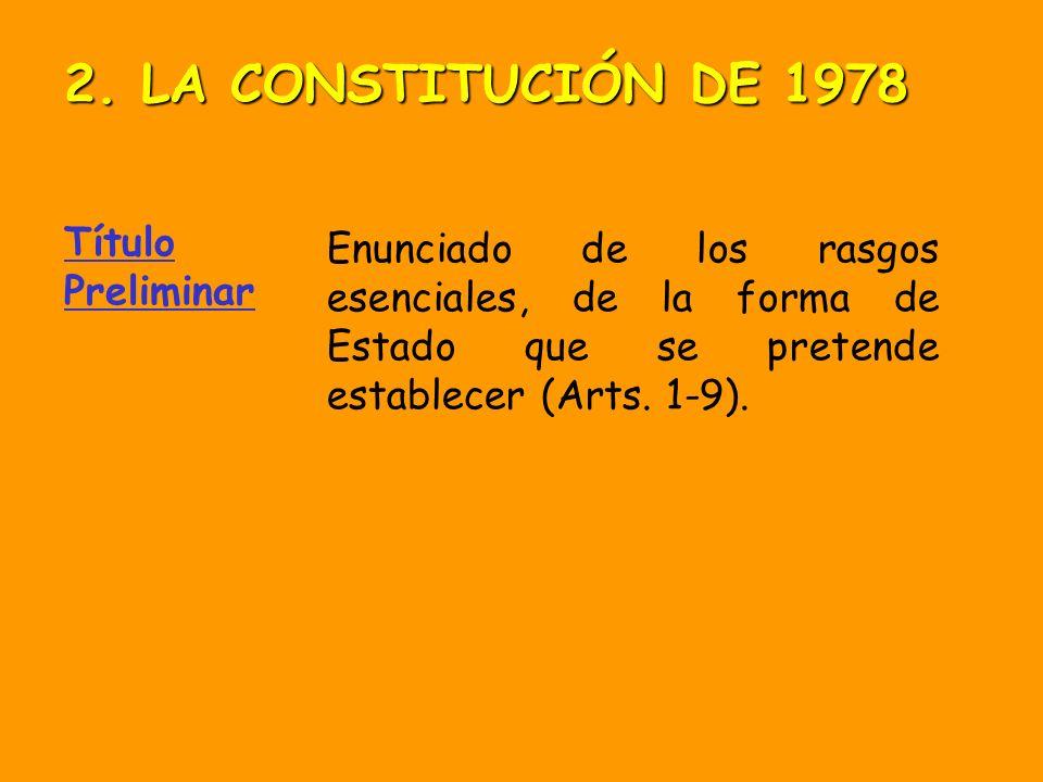Título Preliminar Enunciado de los rasgos esenciales, de la forma de Estado que se pretende establecer (Arts.