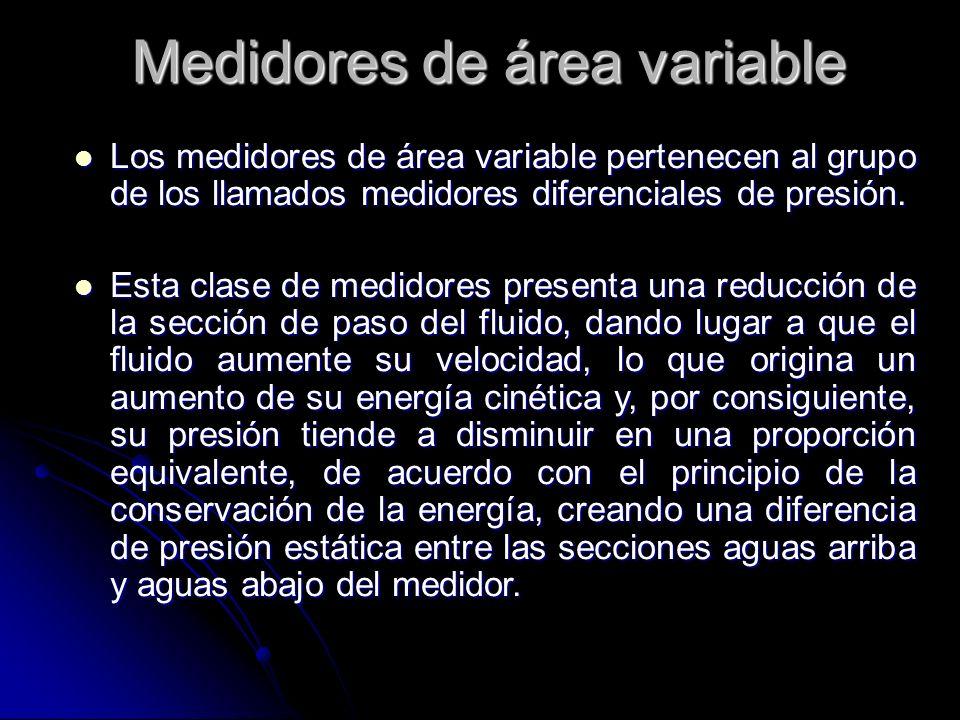 Medidores de área variable Los medidores de área variable pertenecen al grupo de los llamados medidores diferenciales de presión. Los medidores de áre