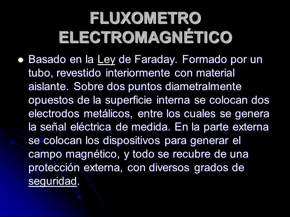 FLUXOMETRO ELECTROMAGNÉTICO Basado en la Ley de Faraday. Formado por un tubo, revestido interiormente con material aislante. Sobre dos puntos diametra