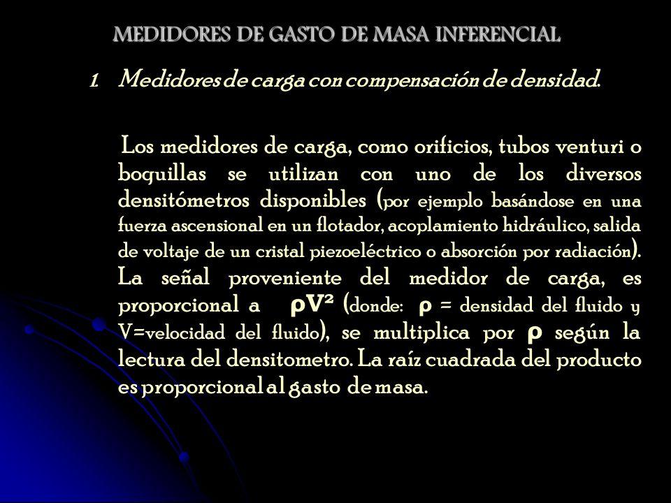 MEDIDORES DE GASTO DE MASA INFERENCIAL 1. 1. Medidores de carga con compensación de densidad. Los medidores de carga, como orificios, tubos venturi o