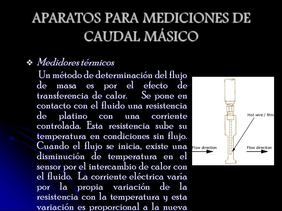 APARATOS PARA MEDICIONES DE CAUDAL MÁSICO Medidores térmicos Medidores térmicos Un método de determinación del flujo de masa es por el efecto de trans