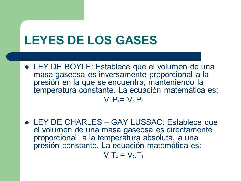 LEYES DE LOS GASES LEY DE BOYLE: Establece que el volumen de una masa gaseosa es inversamente proporcional a la presión en la que se encuentra, manten