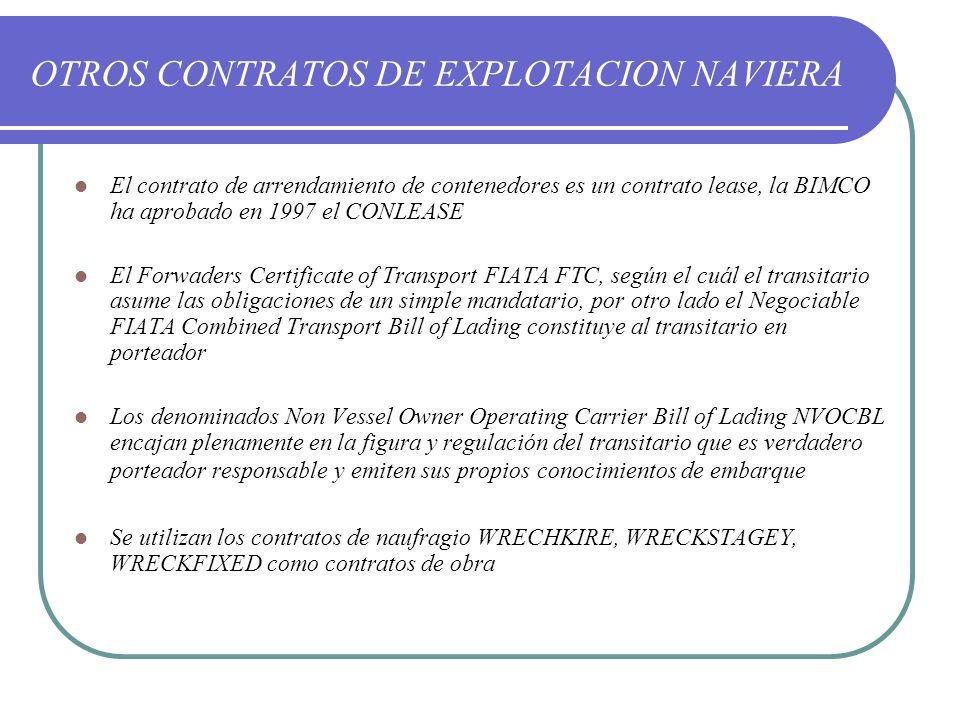 OTROS CONTRATOS DE EXPLOTACION NAVIERA El contrato de arrendamiento de contenedores es un contrato lease, la BIMCO ha aprobado en 1997 el CONLEASE El