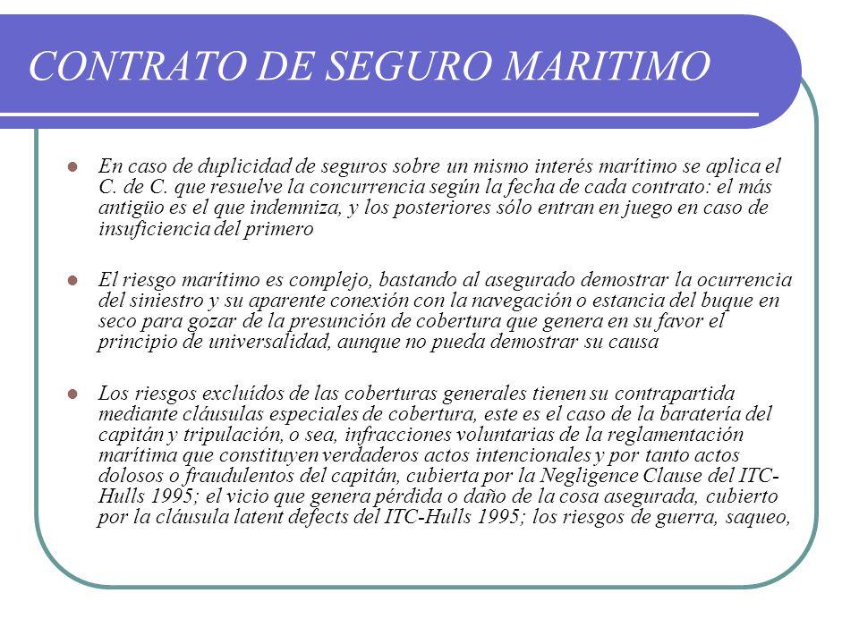 CONTRATO DE SEGURO MARITIMO En caso de duplicidad de seguros sobre un mismo interés marítimo se aplica el C. de C. que resuelve la concurrencia según