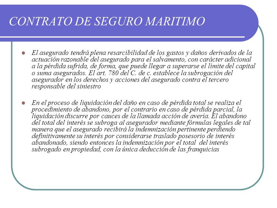 CONTRATO DE SEGURO MARITIMO El asegurado tendrá plena resarcibilidad de los gastos y daños derivados de la actuación razonable del asegurado para el s