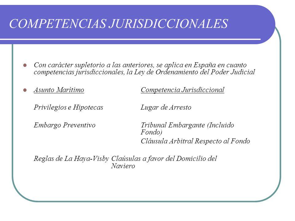 COMPETENCIAS JURISDICCIONALES Con carácter supletorio a las anteriores, se aplica en España en cuanto competencias jurisdiccionales, la Ley de Ordenam