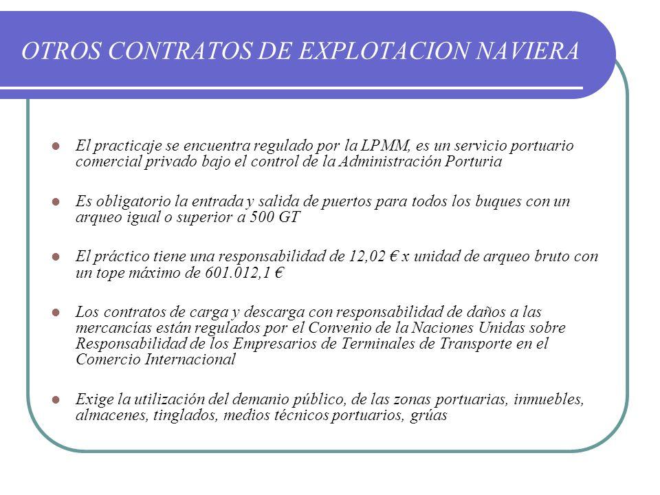 OTROS CONTRATOS DE EXPLOTACION NAVIERA El practicaje se encuentra regulado por la LPMM, es un servicio portuario comercial privado bajo el control de