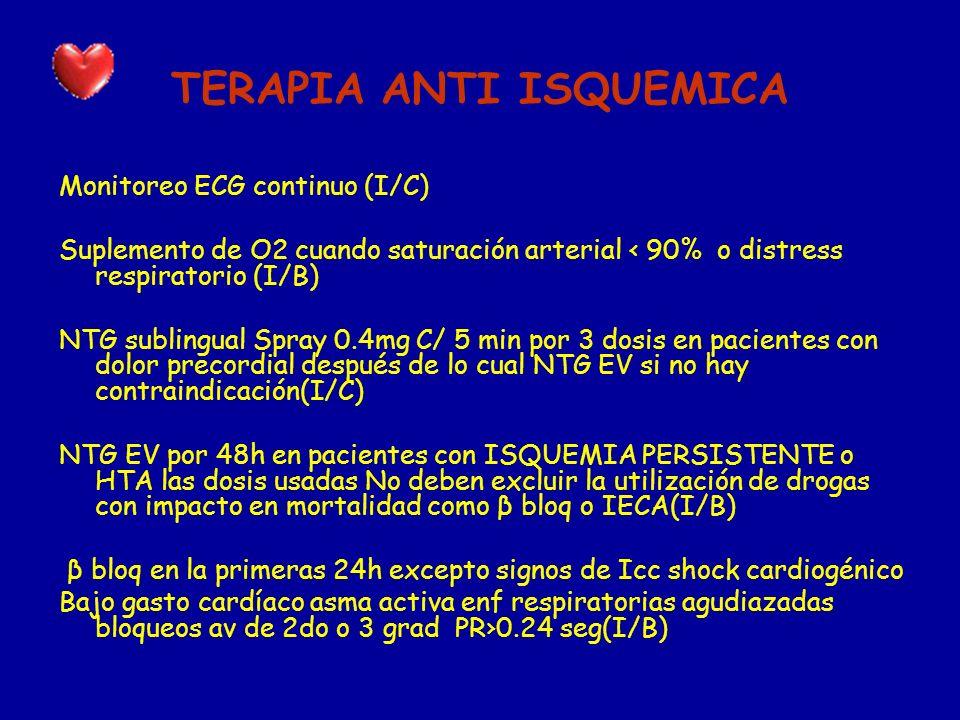 TERAPIA ANTI ISQUEMICA Monitoreo ECG continuo (I/C) Suplemento de O2 cuando saturación arterial 90% o distress respiratorio (I/B) NTG sublingual Spray