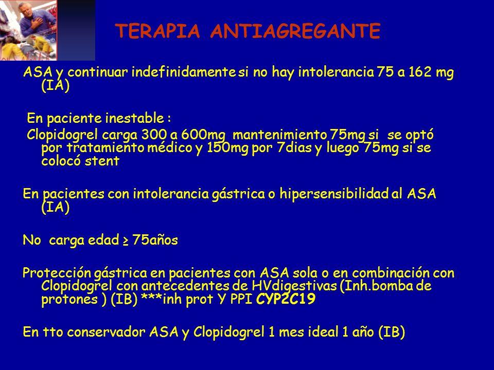 TERAPIA ANTIAGREGANTE ASA y continuar indefinidamente si no hay intolerancia 75 a 162 mg (IA) En paciente inestable : Clopidogrel carga 300 a 600mg ma