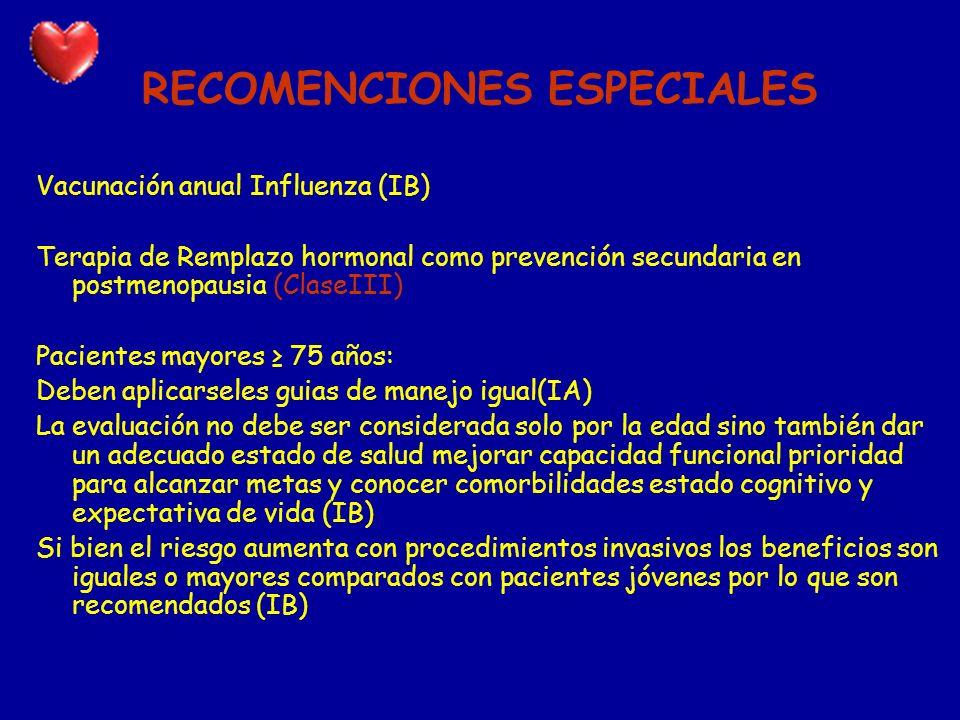 RECOMENCIONES ESPECIALES Vacunación anual Influenza (IB) Terapia de Remplazo hormonal como prevención secundaria en postmenopausia (ClaseIII) Paciente