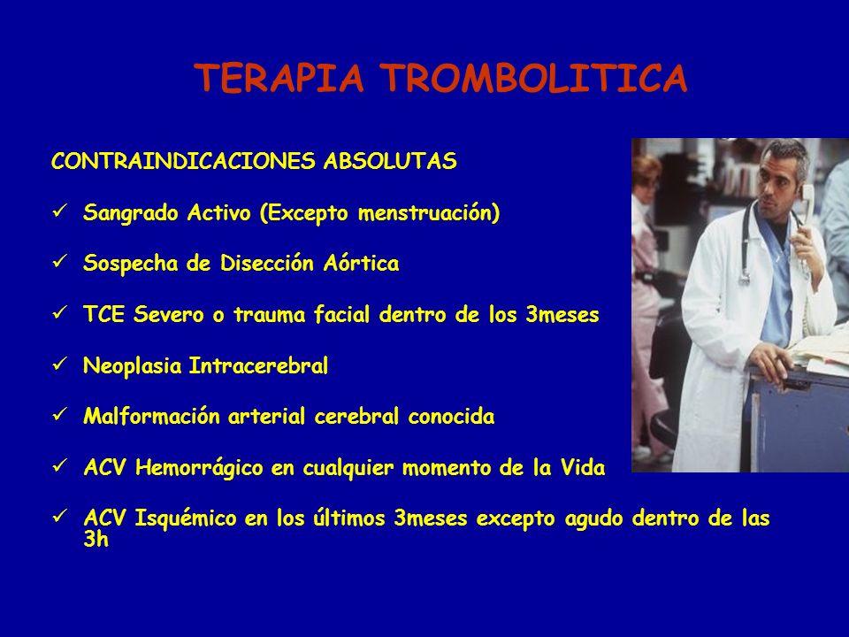 TERAPIA TROMBOLITICA CONTRAINDICACIONES ABSOLUTAS Sangrado Activo (Excepto menstruación) Sospecha de Disección Aórtica TCE Severo o trauma facial dent