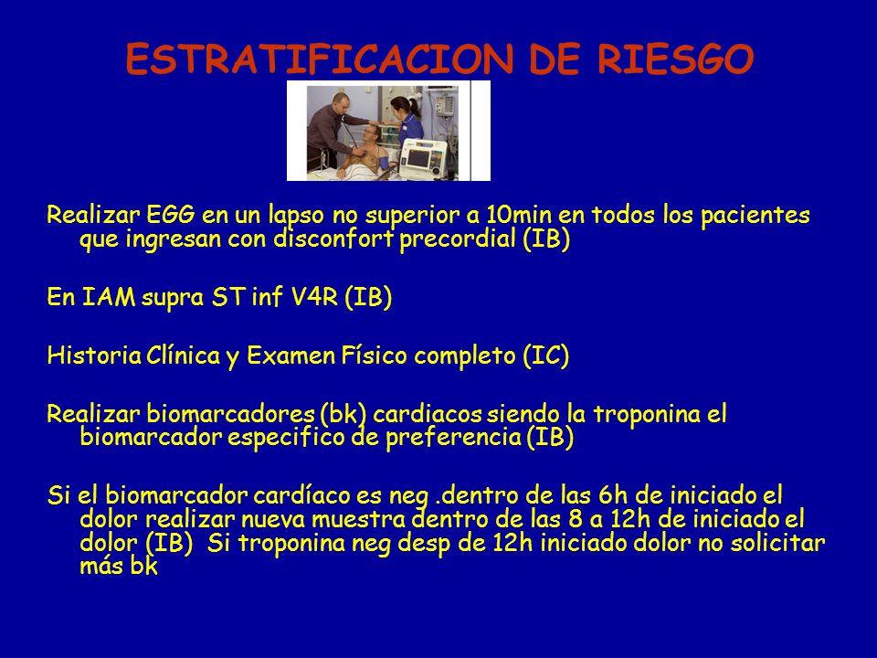 ESTRATIFICACION DE RIESGO Realizar EGG en un lapso no superior a 10min en todos los pacientes que ingresan con disconfort precordial (IB) En IAM supra