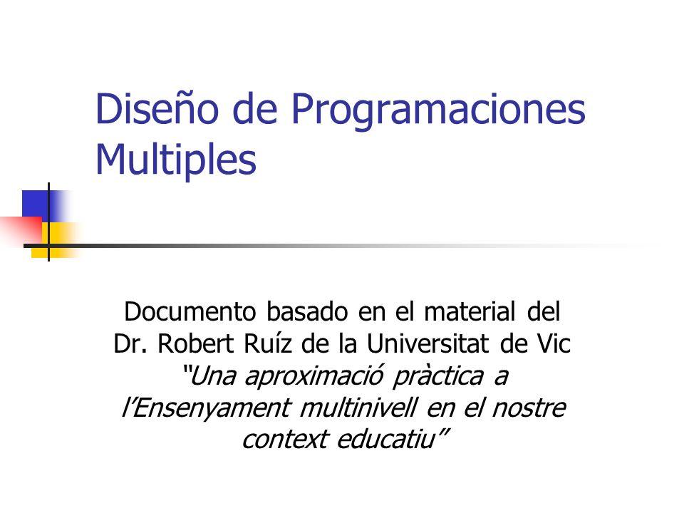 Diseño de Programaciones Multiples Documento basado en el material del Dr. Robert Ruíz de la Universitat de Vic Una aproximació pràctica a lEnsenyamen