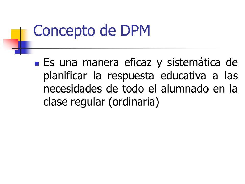 Concepto de DPM Es una manera eficaz y sistemática de planificar la respuesta educativa a las necesidades de todo el alumnado en la clase regular (ord