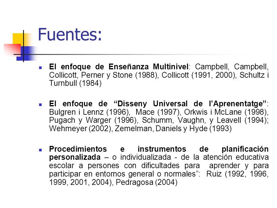 Fuentes: El enfoque de Enseñanza Multinivel: Campbell, Campbell, Collicott, Perner y Stone (1988), Collicott (1991, 2000), Schultz i Turnbull (1984) E