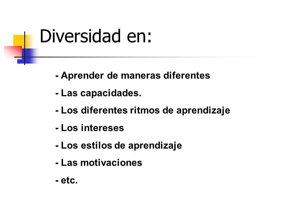Diversidad en: - Aprender de maneras diferentes - Las capacidades. - Los diferentes ritmos de aprendizaje - Los intereses - Los estilos de aprendizaje