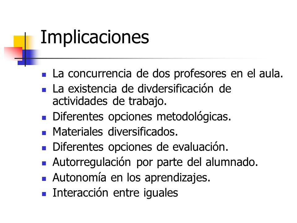 Implicaciones La concurrencia de dos profesores en el aula. La existencia de divdersificación de actividades de trabajo. Diferentes opciones metodológ