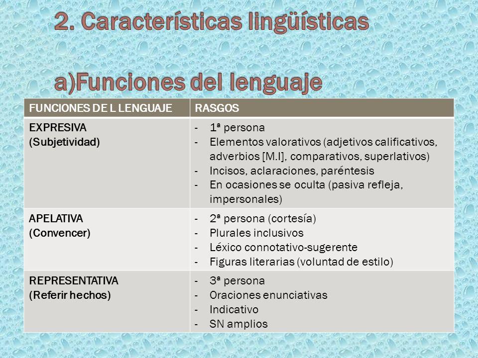 FUNCIONES DE L LENGUAJERASGOS EXPRESIVA (Subjetividad) -1ª persona -Elementos valorativos (adjetivos calificativos, adverbios [M.I], comparativos, sup