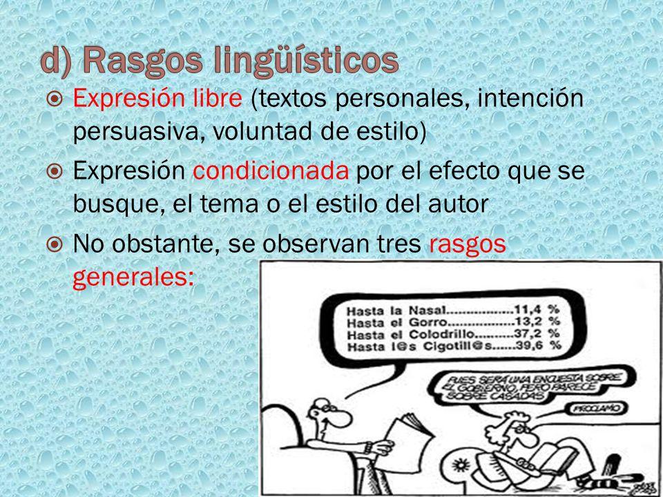 Expresión libre (textos personales, intención persuasiva, voluntad de estilo) Expresión condicionada por el efecto que se busque, el tema o el estilo
