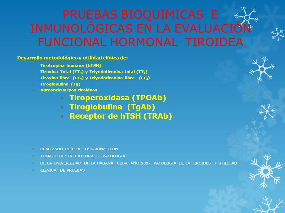 DETERMINACIÓN DE TIROXINA Y TRIYODOTIRONINA LIBRES EN SUERO DESARROLLO METODOLÓGICO MÉTODOS INDIRECTOS DE ESTIMADOS DE FRACCIÓN LIBRE (FT4E y FT3E) Métodos de índice (FT4 I y FT3 I) de dos ensayos con separación física Métodos de índice (FT4 I y FT3 I) de dos ensayos con separación física Índice de FT4 por Diálisis Equilibrio Isotópico (DEI) x TT4 (PBI/RIA) Índice de FT4 por Diálisis Equilibrio Isotópico (DEI) x TT4 (PBI/RIA) Medición de TT4 + TBG inmunoensayo) TT4/TBG Medición de TT4 + TBG inmunoensayo) TT4/TBG Medición de TT4 o TT3 + Ensayo de Captación de T3 o T4 (THBR) Medición de TT4 o TT3 + Ensayo de Captación de T3 o T4 (THBR) Ensayos de ligando sin separación física Ensayos de ligando sin separación física RIA de dos etapas RIA de dos etapas RIA de una etapa (análogo marcado) RIA de una etapa (análogo marcado) Métodos inmunométricos (anticuerpo marcado, quimioluminiscencia) Métodos inmunométricos (anticuerpo marcado, quimioluminiscencia)