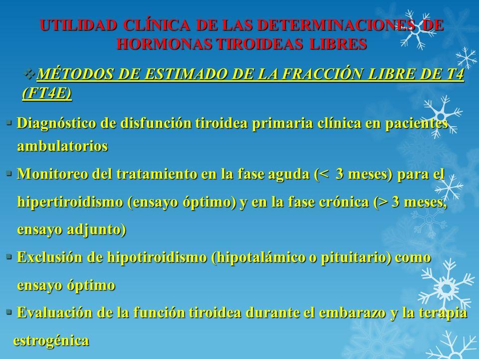 UTILIDAD CLÍNICA DE LAS DETERMINACIONES DE HORMONAS TIROIDEAS LIBRES Diagnóstico de disfunción tiroidea primaria clínica en pacientes Diagnóstico de d