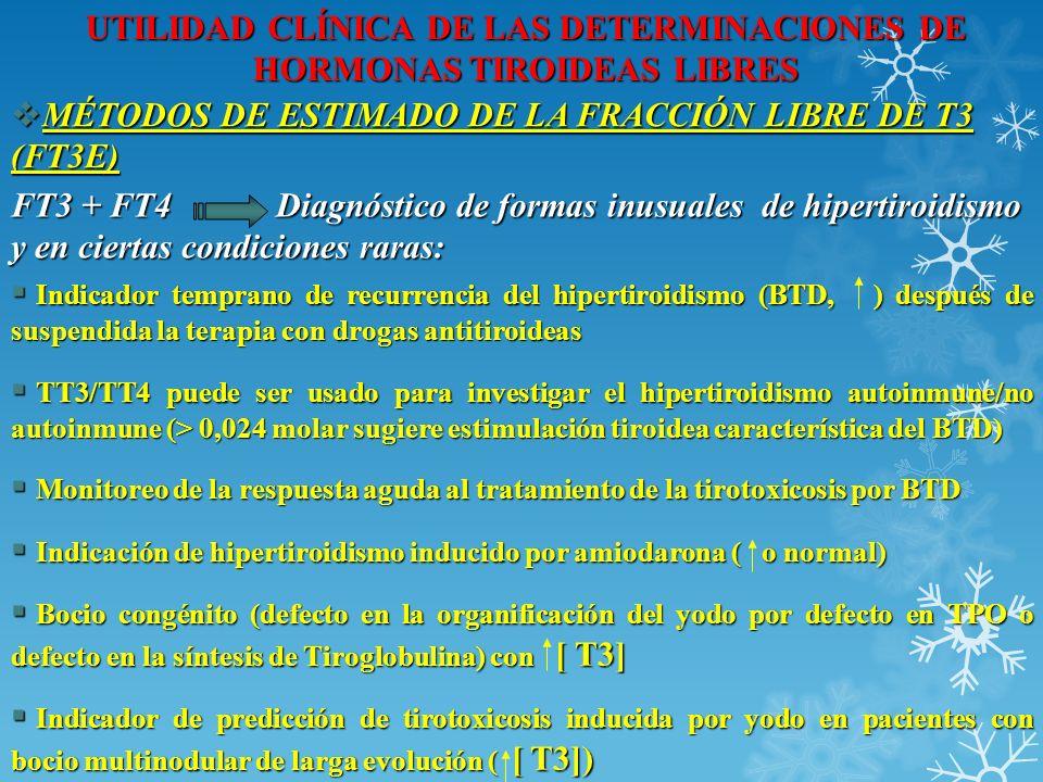 UTILIDAD CLÍNICA DE LAS DETERMINACIONES DE HORMONAS TIROIDEAS LIBRES MÉTODOS DE ESTIMADO DE LA FRACCIÓN LIBRE DE T3 (FT3E) MÉTODOS DE ESTIMADO DE LA F