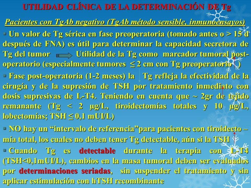 UTILIDAD CLÍNICA DE LA DETERMINACIÓN DE Tg Pacientes con TgAb negativo (TgAb método sensible, inmunoensayos) Pacientes con TgAb negativo (TgAb método