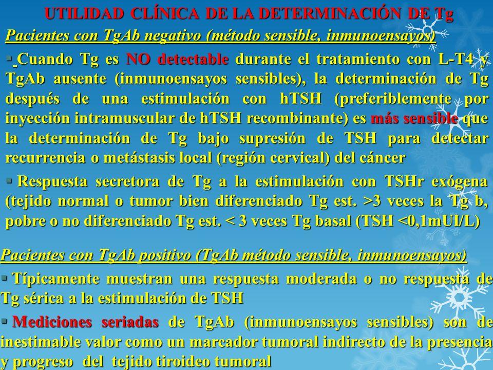UTILIDAD CLÍNICA DE LA DETERMINACIÓN DE Tg Pacientes con TgAb negativo (método sensible, inmunoensayos) Cuando Tg es NO detectable durante el tratamie
