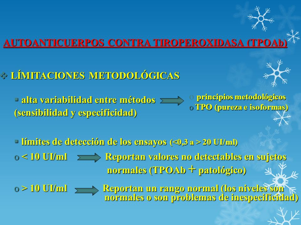 AUTOANTICUERPOS CONTRA TIROPEROXIDASA (TPOAb) LÍMITACIONES METODOLÓGICAS LÍMITACIONES METODOLÓGICAS alta variabilidad entre métodos alta variabilidad