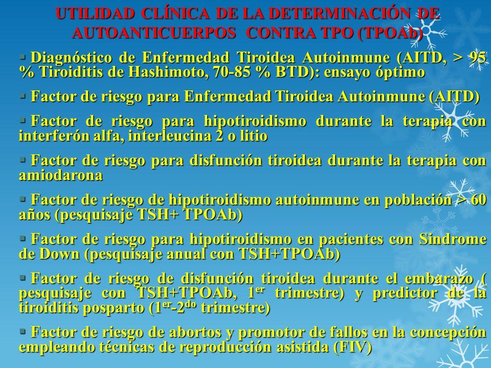 UTILIDAD CLÍNICA DE LA DETERMINACIÓN DE AUTOANTICUERPOS CONTRA TPO (TPOAb) Diagnóstico de Enfermedad Tiroidea Autoinmune (AITD, > 95 % Tiroiditis de H