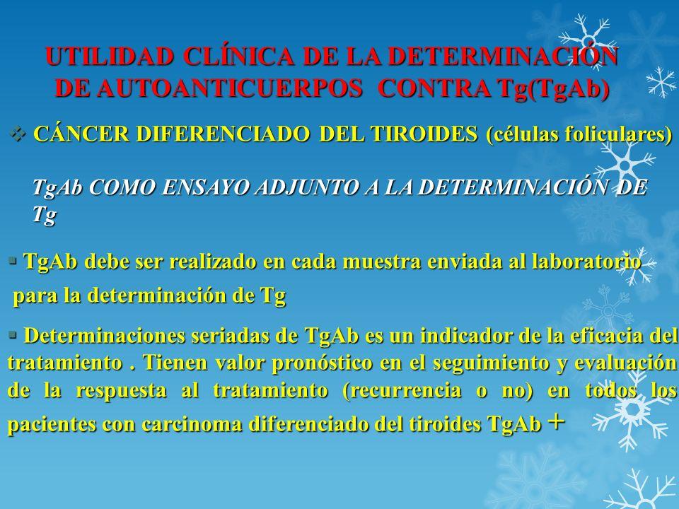 UTILIDAD CLÍNICA DE LA DETERMINACIÓN DE AUTOANTICUERPOS CONTRA Tg(TgAb) CÁNCER DIFERENCIADO DEL TIROIDES (células foliculares) CÁNCER DIFERENCIADO DEL