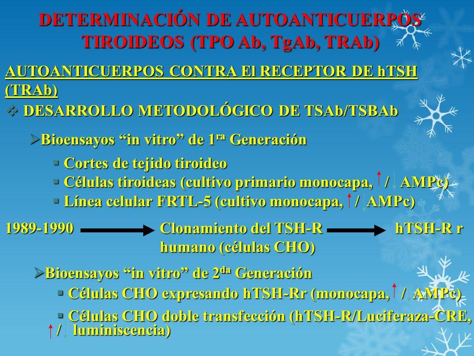 DETERMINACIÓN DE AUTOANTICUERPOS TIROIDEOS (TPO Ab, TgAb, TRAb) AUTOANTICUERPOS CONTRA El RECEPTOR DE hTSH (TRAb) DESARROLLO METODOLÓGICO DE TSAb/TSBA