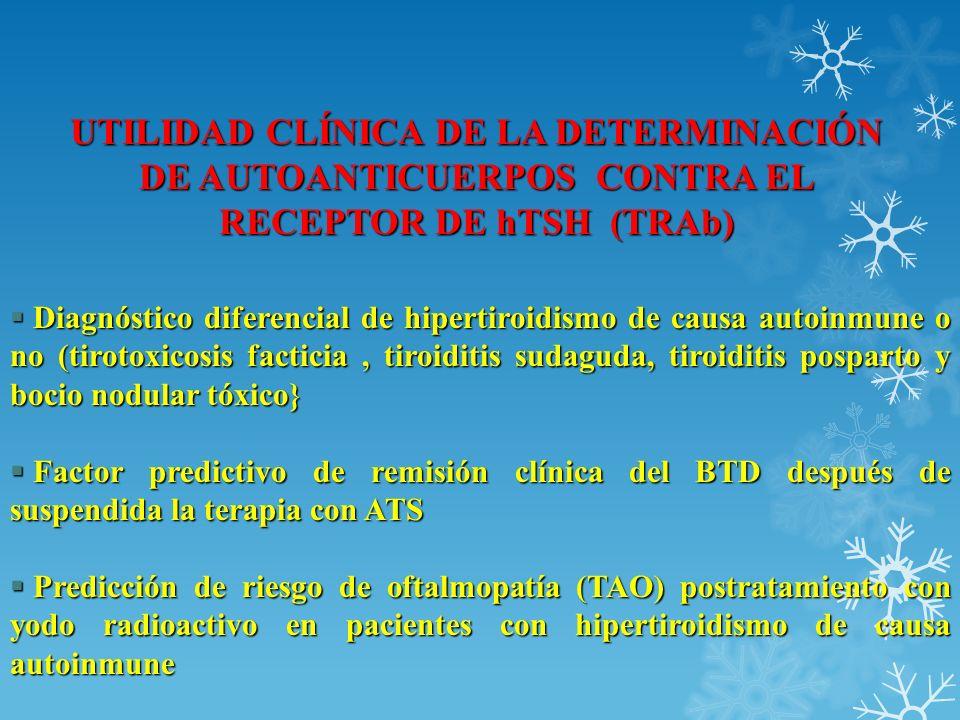 UTILIDAD CLÍNICA DE LA DETERMINACIÓN DE AUTOANTICUERPOS CONTRA EL RECEPTOR DE hTSH (TRAb) Diagnóstico diferencial de hipertiroidismo de causa autoinmu