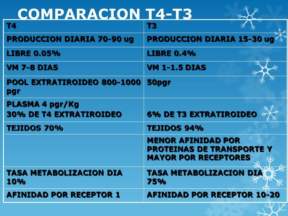 COMPARACION T4-T3 T4T3 PRODUCCION DIARIA 70-90 ug PRODUCCION DIARIA 15-30 ug LIBRE 0.05% LIBRE 0.4% VM 7-8 DIAS VM 1-1.5 DIAS POOL EXTRATIROIDEO 800-1