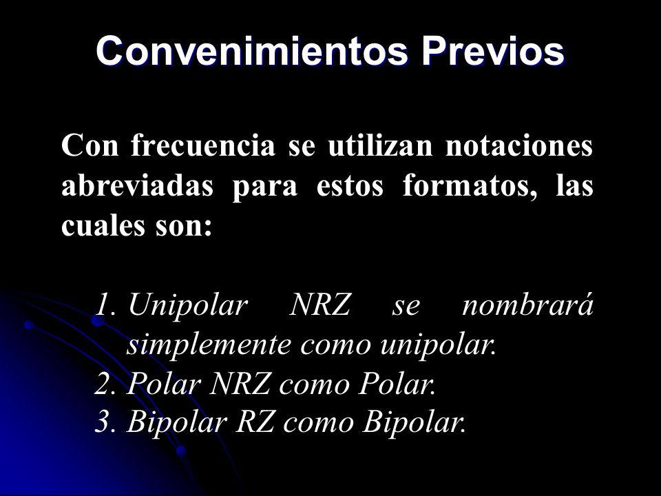 Convenimientos Previos Con frecuencia se utilizan notaciones abreviadas para estos formatos, las cuales son: 1.Unipolar NRZ se nombrará simplemente co