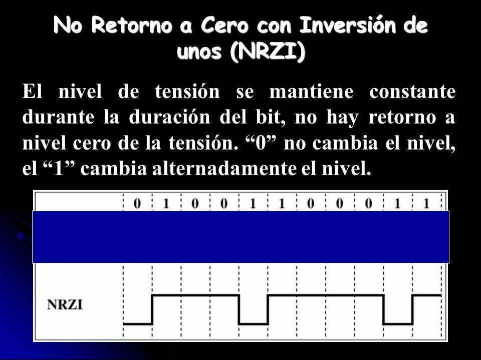 No Retorno a Cero con Inversión de unos (NRZI) El nivel de tensión se mantiene constante durante la duración del bit, no hay retorno a nivel cero de l
