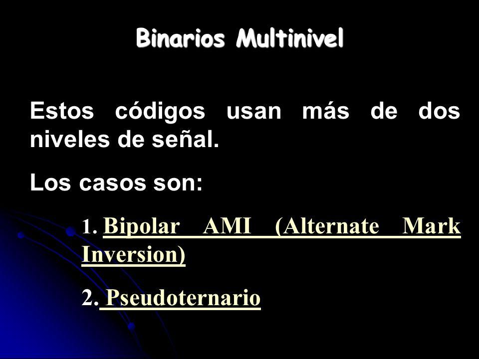 Binarios Multinivel Estos códigos usan más de dos niveles de señal. Los casos son: 1. Bipolar AMI (Alternate Mark Inversion) Bipolar AMI (Alternate Ma