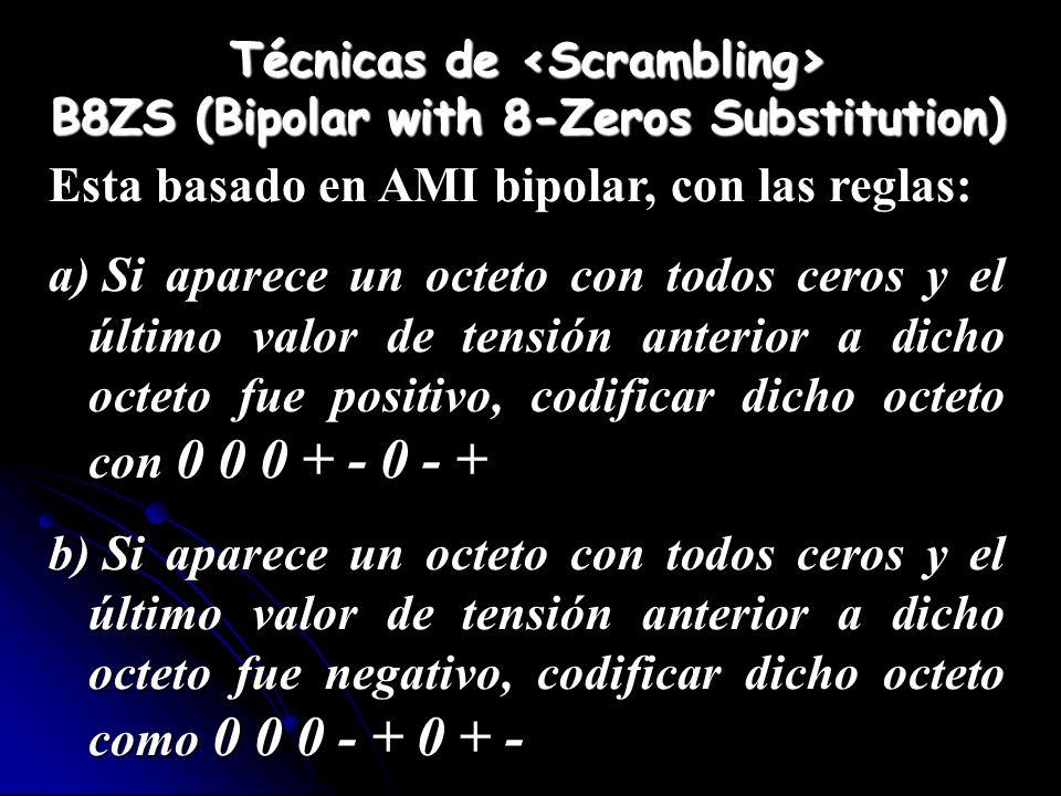 Técnicas de B8ZS (Bipolar with 8-Zeros Substitution) Esta basado en AMI bipolar, con las reglas: a) Si aparece un octeto con todos ceros y el último v