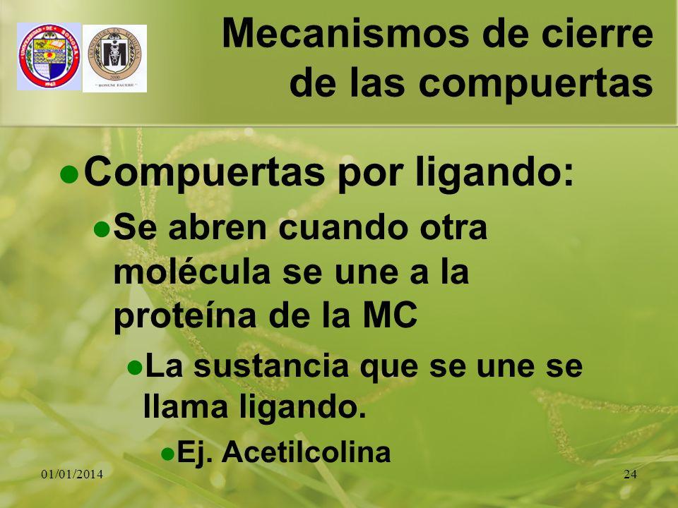 01/01/201424 Mecanismos de cierre de las compuertas Compuertas por ligando: Se abren cuando otra molécula se une a la proteína de la MC La sustancia q